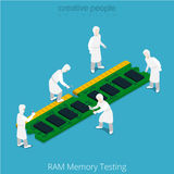 RAM memory testing repair service. Serviceman work. Ing on memory chip module. Flat 3d isometry isometric style web site app icon set concept vector illustration Royalty Free Stock Images