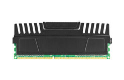 Ram module with heat spreader. Single ddr3 ram module with heat spreader isolated on white royalty free stock photo