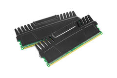 Ram modules. Two ram modules with heat sinks on white Royalty Free Stock Image