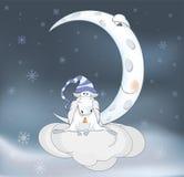 RAM och en måne Arkivfoto