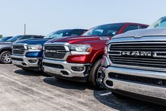 Noblesville - Circa August 2018: Ram 1500 Pickup Trucks at a Dodge dealership IV. Ram 1500 Pickup Trucks at a Dodge dealership. The Ram 1500 Pickup is royalty free stock photo