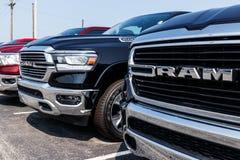 Noblesville - Circa August 2018: Ram 1500 Pickup Trucks at a Dodge dealership VI. Ram 1500 Pickup Trucks at a Dodge dealership. The Ram 1500 Pickup is stock image