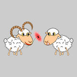 A ram presenting a sheep a flower. Funny cartoon i Stock Photography