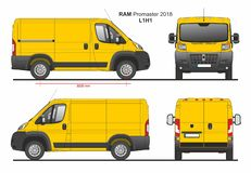 RAM Promaster Cargo Delivery Van L1H1 2018. Detailed template for design and production of vehicle wraps scale 1:10 vector illustration