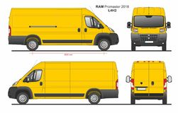 RAM Promaster Cargo Delivery Van L4H2 2018. Detailed template for design and production of vehicle wraps scale 1:10 stock illustration