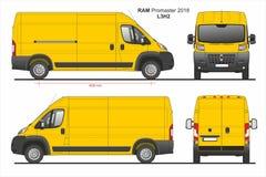 RAM Promaster Cargo Van L3H2 2018 ilustração do vetor