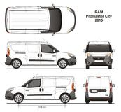 Ram Promaster City Cargo Delivery Van 2015. Detailed template for design and production of vehicle wraps scale 1:10 Royalty Free Stock Image