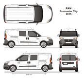 Ram Promaster City Combi Delivery Van 2015. Detailed template for design and production of vehicle wraps scale 1:10 Stock Images