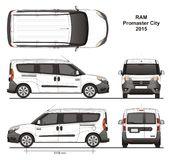 Ram Promaster City Passenger Van 2015. Detailed template for design and production of vehicle wraps scale 1:10 Stock Photo