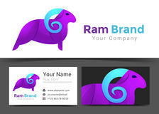 Ram Purple Corporate Logo and Business Card Sign Template. Stock Image