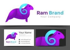 Ram Purple Corporate Logo et calibre de signe de carte de visite professionnelle de visite Image stock