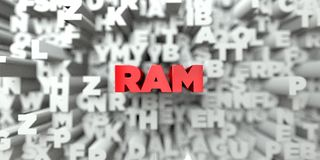 RAM -  Red text on typography background - 3D rendered royalty free stock image Stock Image