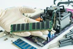 RAM on repairman hand to check and repair Stock Image