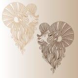 Ram's head. Mehendi style vector illustration