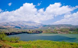 Rams pool and Mount Hermon Royalty Free Stock Images