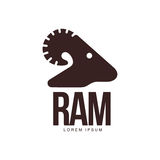 Ram, sheep, lamb head silhouette graphic logo template Stock Photo