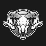 Ram skull on a dark background on a dark background. Ram skull on a dark background stock illustration