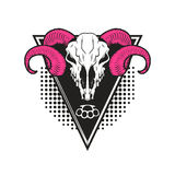 Ram skull on triangle background. Royalty Free Stock Photos