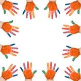 Ram som göras av barns händer Arkivfoton
