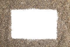 Ram som göras av chiafrö på vit bakgrund, bästa sikt arkivbild