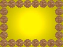 Ram som göras från en eurocent mynt på guling. Arkivfoto