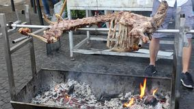 Ram on a spit stock footage