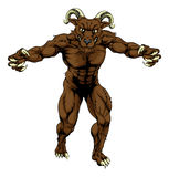 Ram sports mascot. A mean tough muscular ram sports mascot character advancing with claws out Royalty Free Stock Image