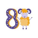 Ram Standing Next To Number åtta stiliserade det skraj djuret Arkivfoton