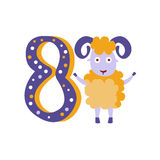 Ram Standing Next To Number huit a stylisé l'animal génial illustration libre de droits