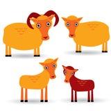 RAM, tacka och lamm Uppsättning av roliga djur med gröngölingar på vit bakgrund vektor Royaltyfri Bild