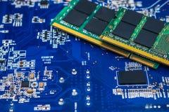Ram Technology computer processors Memory. Technology computer processors circuit board and sd ram memory royalty free stock photo