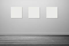 ram tre av den vita affischen som hänger i tomt rum utrymme för din text och bild produktskärmmall 3d business dimensional presen Arkivfoton