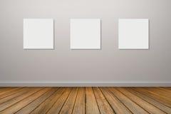 ram tre av den vita affischen som hänger i tomt rum utrymme för din text och bild produktskärmmall 3d business dimensional presen Arkivfoto