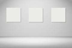 ram tre av den vita affischen som hänger i tomt rum utrymme för din text och bild produktskärmmall 3d business dimensional presen Royaltyfria Foton