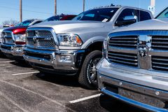 Noblesville - Circa March 2018: Ram Truck Dealership. Ram is a subsidiary of Fiat Chrysler Automobiles I. Ram Truck Dealership. Ram is a subsidiary of Fiat royalty free stock images