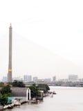 RAMA国王在昭拍耶河的第九座桥梁在曼谷,泰国 免版税库存图片