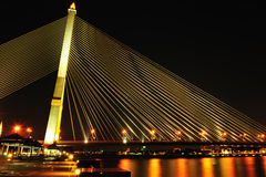 Rama 8 bridge at night in Bangkok Royalty Free Stock Photography