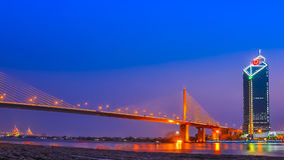 Rama 9 Bridge at Chaopraya river, Bangkok Thailand. Buliging and Bridge on Chaopraya river Stock Photos
