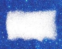 Rama błękitna błyskotliwość na białym tle Iskrzasta świąteczna dekoracja dla twój projekta Obraz Royalty Free