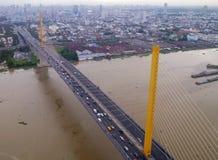 Rama9 bridge against Bangkok cityscape Royalty Free Stock Photo