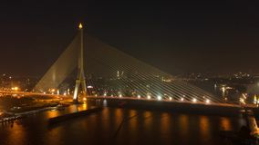 Rama 8 Bridge in Bangkok city at night, Thailand.  stock video