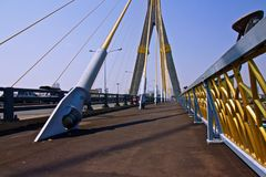 Rama 8 Bridge. Bangkok on a clear day with blue sky stock photo