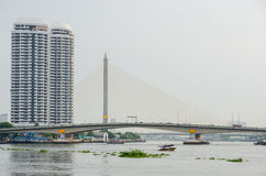 RAMA8 bridge cross  Chao Phraya River. Royalty Free Stock Photos