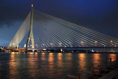 Rama8 bridge at dusk in Bangkok Stock Photo