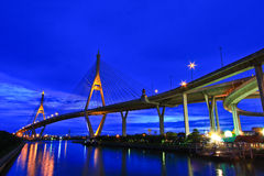 Rama 9 Bridge in the evening Royalty Free Stock Photo