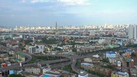 Rama 8 Bridge, highway, and skyscrapers in Bangkok City, Thailand.  stock video