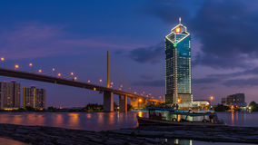 Rama 9 bridge and Kasikorn building. In twilight time Royalty Free Stock Image