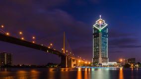 Rama 9 bridge and Kasikorn building. In twilight time Stock Photo