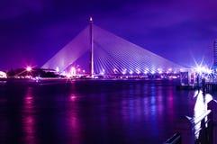 Rama 8 Bridge at night. Rama 8 mega bridge at night time in Thailand Stock Photos