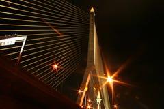 Rama 8 Bridge at Night. Thailand stock photography